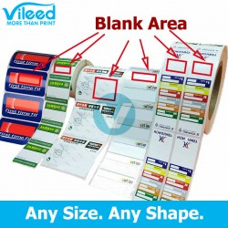 Custom Printed Color Thermal Transfer Label Sticker Roll for Printing with Barcode Label Printer, Price per Label