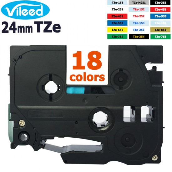 Compatible 24mm TZe Label Tape for Brother P-Touch Label Printer - 18 Color Variations: Clear White Red Blue Yellow Green Gold Silver Black TZe-151 TZe-251 TZe-451 TZe-551 TZe-651 TZe-751 TZe-354 TZe-355 TZe-152 TZe-153 TZe-155 etc