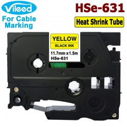 Compatible HSe-231 HSe-631 11.7mm Heat Shrink Tube Tape for Brother P-Touch Label Printer to Mark Cable Fiber Wire
